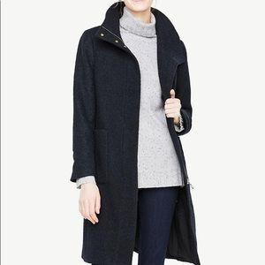 Women's blue boucle funnel neck coat